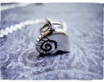 Silver Nautilus Shell Necklace - Sterling Silver Nautilus Shell Charm on a Delicate Sterling Silver Cable Chain or Charm Only
