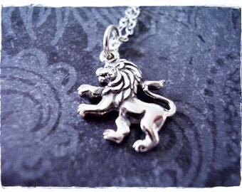 Rampant Lion Necklace - Sterling Silver Rampant Lion Charm on a Delicate Sterling Silver Cable Chain or Charm Only