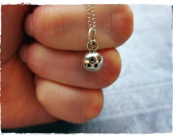 Tiny Bowling Ball Necklace - Sterling Silver Bowling Ball Charm on a Delicate Sterling Silver Cable Chain or Charm Only