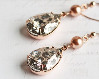 Rose Gold Crystal Rhinestone Teardrop Dangle Earrings with Pearl ('Rose Gold Patina' Swarovski Elements)