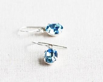 Tiny Aqua Blue Crystal Rhinestone Dangle Earrings on Sterling Silver Hooks (Swarovski Elements)