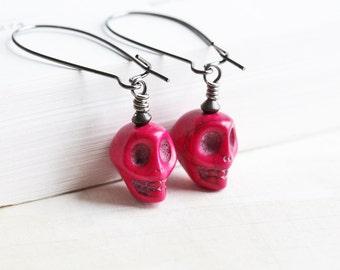 Fuchsia Pink Stone Sugar Skull Dangle Earrings on Gunmetal Hooks, Goth Jewelry