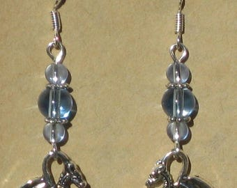 Dragon Earrings with Blue Glass Beads