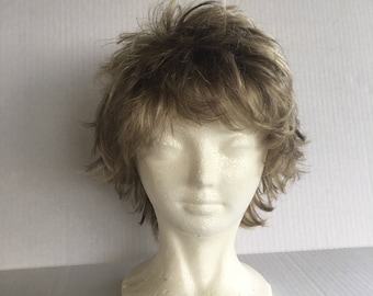 Fringed Pixie medium ash blonde vintage ladies wig short layered hair wig with bangs synthetic wig costume cosplay fantasy Fashion Club TW