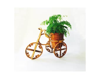 Vintage Bamboo Bicycle Plant Stand