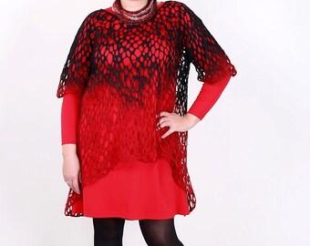 Felted red black blouse XXXXL plus size fashionable wool silk scarf exclusive handmade felt open work Regina Doseth designer piece