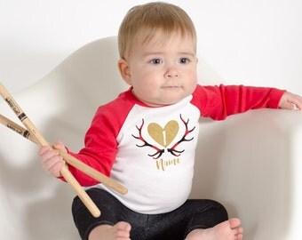 Baby Girl's 1st Birthday - Lumberjack or Jill Birthday Party - Custom Boho Birthday Shirt - Use Any Number, Gold Glitter Heart Deer Antlers
