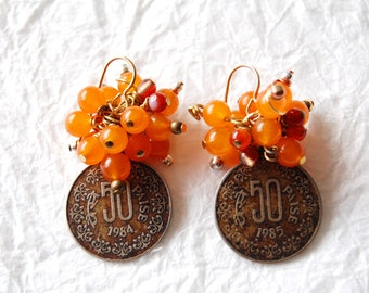 E041710 Paisa Mandarin Orange Dyed Jade Paisa Coin Earrings