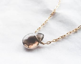 Smoky Quartz Long Drop Necklace | Gold Filled Gemstone Necklace | You're a Gem Collection