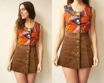 Vintage African Print Cropped Cotton Top Vest Size XS