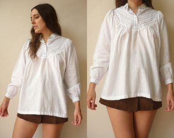 1980's Vintage Indian Made Cotton Victorian Style White Smock Blouse