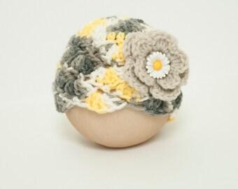 Newborn Girl Sunny Shell Beanie Flower Hat Yellow Gray White Ready to Ship RTS