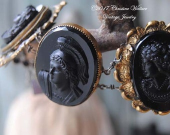 SOLD--LAYAWAY For D.R.--Soldiers-- Black Glass Vintage Cameo Bracelet--SOLD