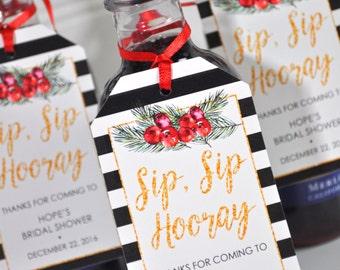 Bridal Shower Wine Bottle Favor Tags - Mini Champagne Tags - Personalized Wedding Mini Wine Bottle Favors Winter - Set of 12