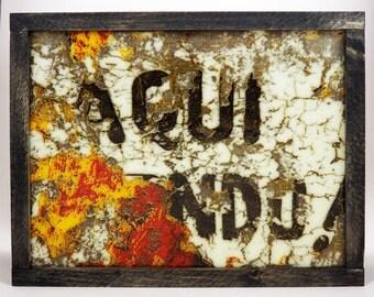 Aqui! Kilnformed Glass Wall or Shelf Piece Fused Art Glass