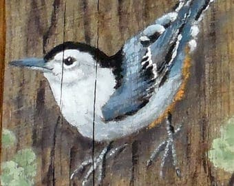"""White Breasted Nuthatch, songbird, hand painted, authentic barn wood, 4"""" X 10"""""""