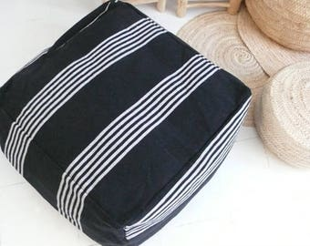 Moroccan Cotton Pouf cover - Black with white stripes