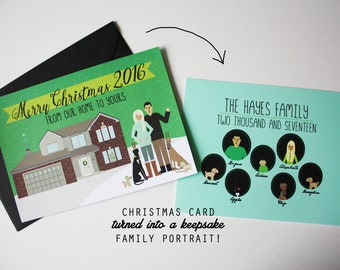 NEW- Family Portrait from existing Christmas Card Design : Custom Illustrated