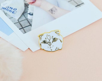 """Cat Enamel Pin """"SASSY"""" Gold and White - cute sassy kitten kitty lapel cool button backpack jewelry hat pins cat lovers pingame collectibles"""