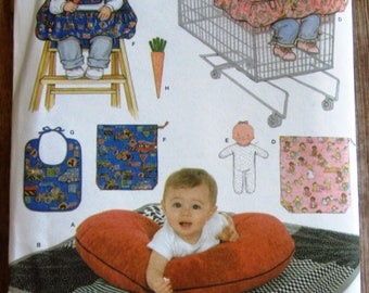 Shopping Cart Seat Cover, High Chair Seat Cover, Bib, Doll, Quilt Simplicity Pattern 4225 UNCUT
