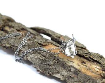 Genuine Herkimer Diamond Necklace - Gemstone Cage - Oxidized Sterling Silver - Herkimer Diamond Jewelry - Large Crystal I