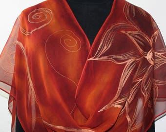 Silk Scarf Handpainted. Brick Red, Burnt Orange Hand Painted Shawl. Handmade Silk Wrap SUNSET FLOWERS. Large 14x72. Birthday, Mother Gift.