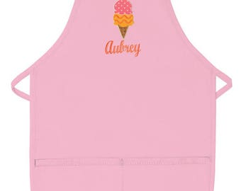 PERSONALIZED Light Pink 2 Pocket Child's Apron Optional Designs Available