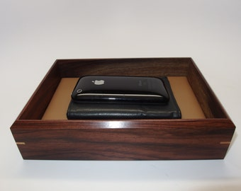 "Sophisticated Leather Wooden Tray. Bolivian Rosewood Premium Valet Box. Leather Upholstered. 8.25"" x 6"" x 2"". Watch Tray."