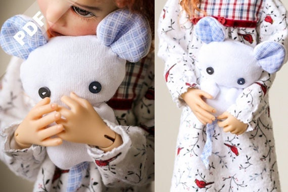 """PDF Pattern: """"Nightie Nite Wishes"""" for MSD 1/4 Ball-Jointed Dolls"""