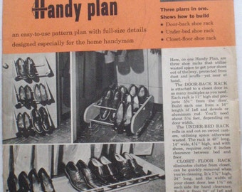 1950's Woodworking Plans - Better Homes and Gardens Handy Plan 107, Three Different Shoe Racks