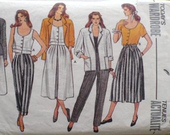 Women's Wardrobe Pattern - Unlined Jacket, Flared Skirt, Button Front Top, Pants - Butterick 3122 - Size 12, Bust 34 - MISSING POCKET PIECE