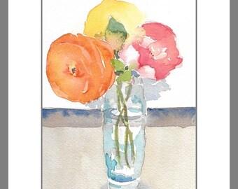"Original Watercolor, Impressionistic, Still Life, Flower, Bouquet, Rose, Cottage Art, 5""X7"", Wall Art, Home decor"