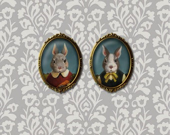 Rabbit Brooch, Oval, Rabbit Pin, Easter, Bunny Brooch, Farm, Country, Easter Bunny, Rabbit Lover Gift, Hostess Gift,