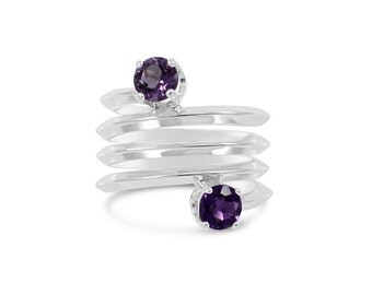 Amethyst Spring Ring , Wrap Band Double , Two Toned Gemstone Ring Size 5 - 9.5