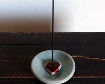 Heart Incense Holder, Handmade Incense Holder, Love is Love, Heart Gift, Incense Burner, Ceramic Heart, Incense Stick Burner