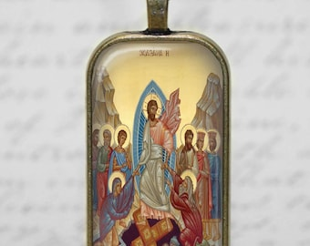 Resurrection Jesus Christ Greek Orthodox Icon Image Glass Tile Pendant Christian  Easter Jewelry Necklace
