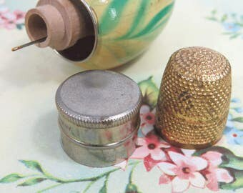 Vintage Needle Case & Pin Holder, Egg Shaped, Marbleized Wood with Thimble, Thread Holder, Needles