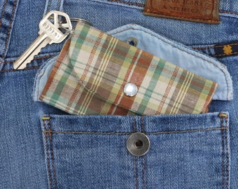 Brown Plaid Keychain Wallet - Student ID Holder - College Student Gift - ID Holder Keychain Wallet - Card Holder Wallet