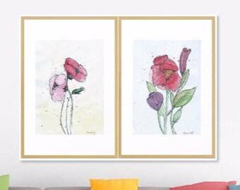 Set of 2 Floral Art Print of Original Watercolor Artwork, 2 prints Spring Flower Watercolor Original Art Print, Modern Art Home decor