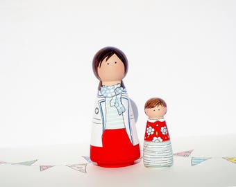 Mother and Daughter Peg Doll Play Set, Mother's Day Gift