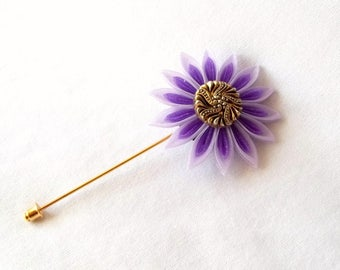 Purple Kanzashi Flower Brooch Pin Lavender Fiber Art Lapel Pin Boutonniere