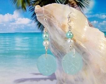 Sand dollar earrings, beach beads wire wrapped earrings, seafoam tumbled faux seaglass earrings