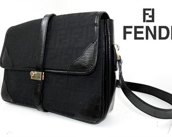 Vintage authentic Fendi SAS roma black monogram hand bag monogram patent Leather canvas Made in Italy genuine FF designer shoulder