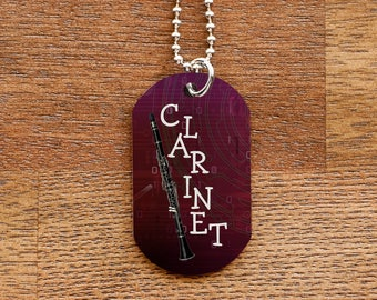 Clarinet Dog Tag Necklace for Band Geeks