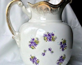 Antique Buffalo Pottery Large Wash Pitcher - African Violets