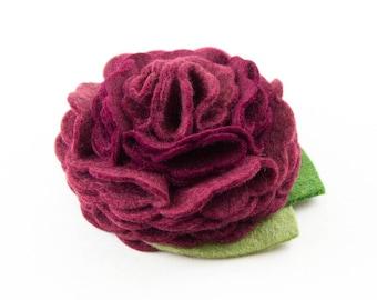Burgundy Dog Collar Flower