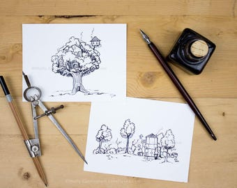 Inky Houses, I and II - Original pen and ink drawings of a greenhouse and a treehouse