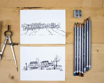 Inky Houses, III and IV - Original pen and ink drawings of a neighborhood and a few cottages