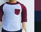 18 inch Boy Doll Clothes - Custom, Baseball Tee, Pocket Tee, Raglan, Tshirt, 3/4 Sleeve, Shirt, American Boy Doll