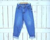 Vintage 90s womens Lucky Brand zipper fly tapered denim jeans/high waisted tapered blue jeans/Dunarees